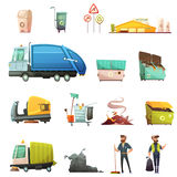 Garbage Waste Sorting Cartoon Icons Set. Garbage sorting and recycling process cartoon icons set with yard waste collecting in eco containers isolated icons Stock Images