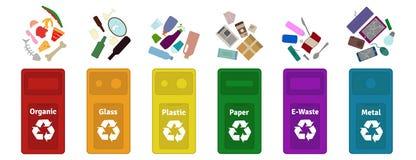 Garbage waste sorting vector illustration. vector illustration