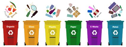 Garbage waste sorting vector illustration. vector illustration