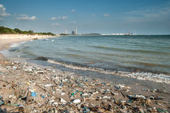 Garbage and wastes on the beach Stock Image