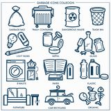 Garbage or wastes trash line icons set. Vector isolated symbols set of domestic litter garbage bag and bin, dangerous toxic, electronic or plastic and metal Stock Photo