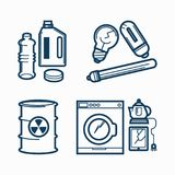 Garbage wastes trash line vector icons set of toxic, electronic plastic and metal recycling garbage. Garbage or wastes trash line icons set. Vector domestic Stock Image