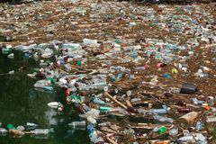 Garbage in water stock photos