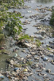 Garbage in water  sacred hinduism Bagmati river. Royalty Free Stock Photography