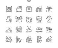 Garbage Well-crafted Pixel Perfect Vector Thin Line Icons 30 2x Grid for Web Graphics and Apps. Simple Minimal Pictogram Royalty Free Stock Photos