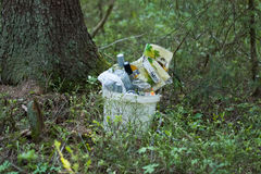 Garbage In Bucket In Forest. Royalty Free Stock Photography