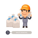 Garbage Worker Carrying Rubbish Bag. Garbage worker carrying construction rubbish bag. Isolated on white background. Clipping paths included Stock Photos
