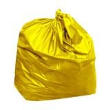 Yellow garbage bag with concept the color of yellow garbage bags is recyclable waste isolated on white background. Garbage yellow bag with concept the color of Royalty Free Stock Photos