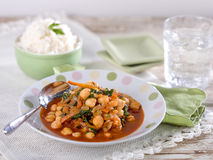 Garbanzo bean chickpea soup. Garbanzo bean, chickpea soup, a typical Peruvian dish served in a light colored bowl stock image