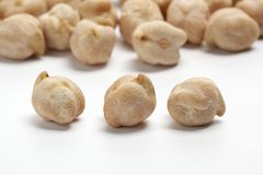 Garbanzo beans, chickpeas on white background stock images