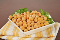 Garbanzo beans in a small bowl Stock Photos