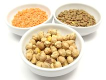 Garbanzos lentils and red lentils Royalty Free Stock Image