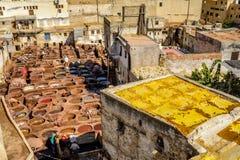 Garbarnie w fezie, Maroko Zdjęcia Stock