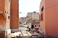 Garbarnie w starym Medina Marrakesh Zdjęcia Royalty Free