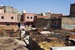 Garbarnie w starym Medina Marrakesh Zdjęcie Royalty Free