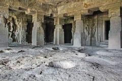 GarbhaGriha看法,不使14,埃洛拉石窟,印度陷下 免版税图库摄影