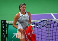 Garbine Muguruza. Spain's Garbine Muguruza pictured during the Fed Cup game against Romania's Camelia Irina Begu. Muguruza won, 6-3, 6-1 royalty free stock image