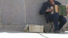 Garbnikujący dorosły mężczyzna bawić się akordeon outdoors zbiory