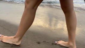 Garbnikujący dziewczyny odprowadzenie na plaży na falistym dennym tle zdjęcie wideo