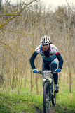 Garboavele, Galati, Romania , April 4, Unidentified cyclists during the annual Garboavele XC cycle race on April 4, 2015 in Garboa Stock Photo