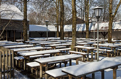 Garching, Germany - Beergarden on wintertime Royalty Free Stock Photo