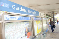 Garching-Hochbrück. Garching Hochbrück subway station with people and copy space Stock Photography