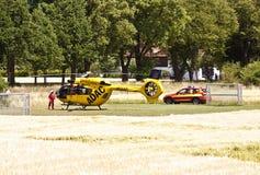 Garching-Notlandung eines ADAC-Hubschraubers mit Stockfoto