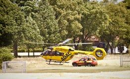 Garching-Notlandung eines ADAC-Hubschraubers mit Lizenzfreies Stockfoto