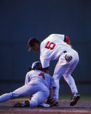 Garciaparra puts a tag on Molitor. Royalty Free Stock Photo