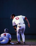 Garciaparra puts a tag on Molitor. Stock Photo
