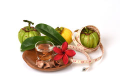 Garcinia atroviridis fruit, dried and fresh and dried brew the tea to lose weight. Royalty Free Stock Photo