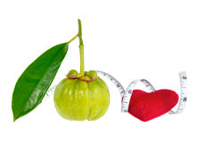 Garcinia cambogia fresh fruit with red heart and measuring tape,. Isolated on white. Garcinia is spice plants. It helps in the metabolism contain high vitamin C Royalty Free Stock Photography