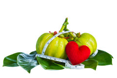 Garcinia cambogia with measuring tape, isolated on white backgro Stock Images
