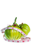 Garcinia cambogia with measuring tape, isolated on white backgro Royalty Free Stock Images