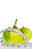 Garcinia cambogia with measuring tape,  on white backgro Stock Images