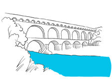 Gard Du Pont Languedoc, Nimes France, Sketch Stock Images
