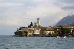 Garda del lago de Italia del castillo de Malcesine Imagen de archivo