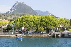 Lake Garda, the largest lake in Italy, situated on the edge of the Dolomites, Italy. GARDA, ITALY - SEPTEMBER 30, 2018: Lake Garda, the largest lake in Italy royalty free stock image