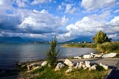 Garda lake. Lacustrine landscape near Sirmione on Garda Lake stock image