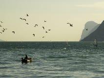Garda lake fishing Royalty Free Stock Photo