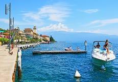 Garda lake and Gardone Riviera town embankment Italy royalty free stock photography
