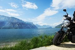 Garda lake in Italy. Bike on shore Royalty Free Stock Photography