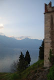 Garda lake, Italy. Sunset on Garda lake with partial view of the Scaliger Castle, Malcesine, Italy stock photography