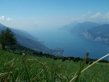 Garda Lake Landscape. A landscape of Garda Lake in sunny summer  season at grass level Royalty Free Stock Photography