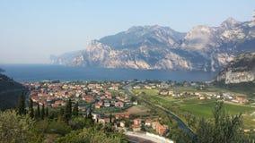 Garda lake. Lake with mountains and city stock photography