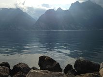 Garda lake the Mountains royalty free stock photo