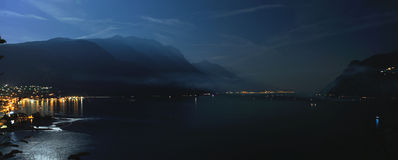 Garda lake night panorama Royalty Free Stock Photography
