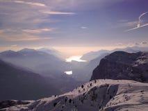 Garda lake from paganella peak Stock Images