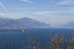 Garda lake from Rocca of Manerba. Panorama view Royalty Free Stock Photography