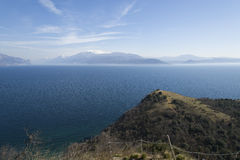 Garda lake from Rocca of Manerba. In a sunny day of may Stock Photo